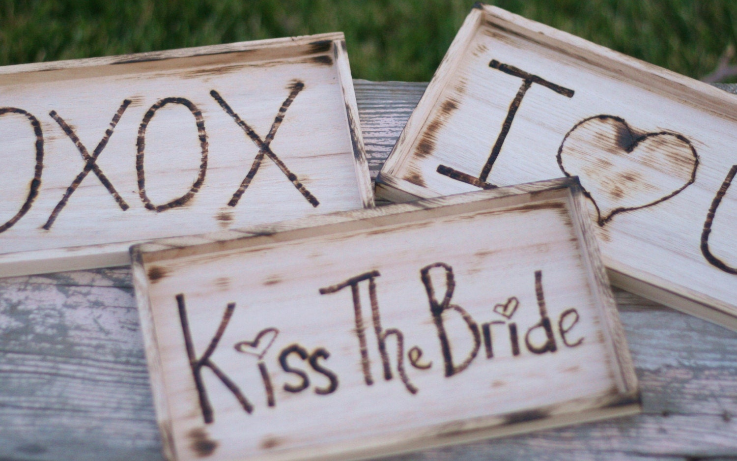 Wedding Photo Props Kiss The Bride I Love You Rustic Cinderella Renaissance Fairytale Woodland CHIC decor