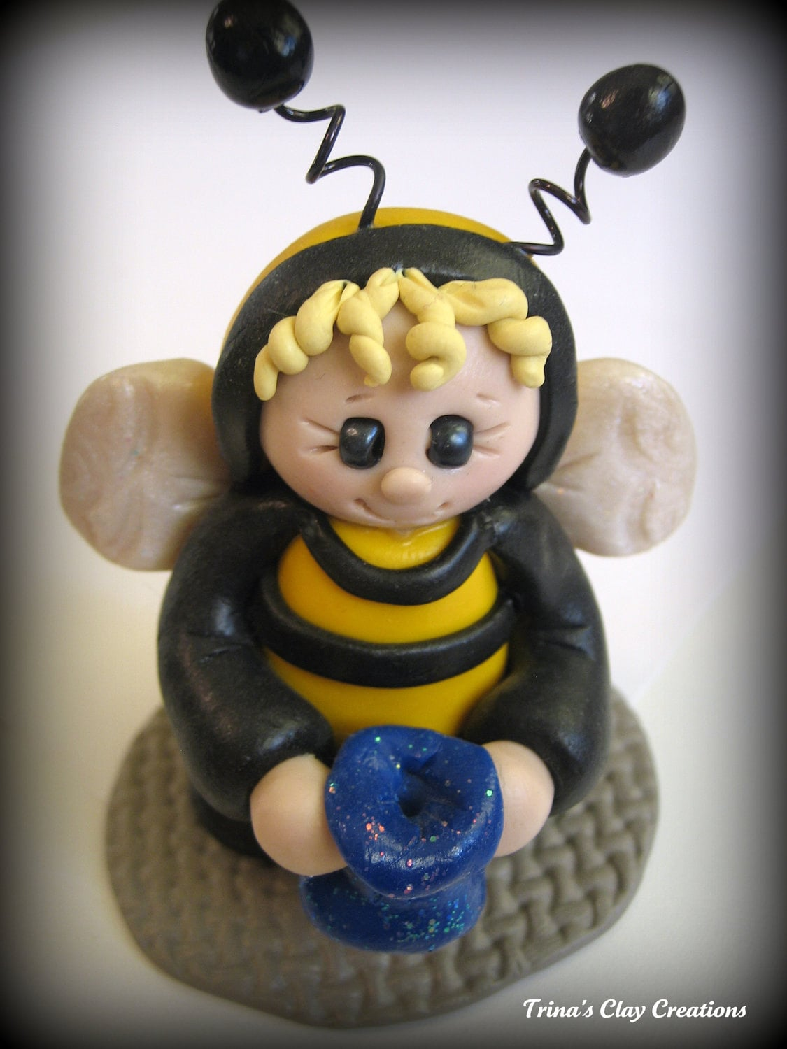 Polymer Clay Halloween Bumble Bee - trinasclaycreations