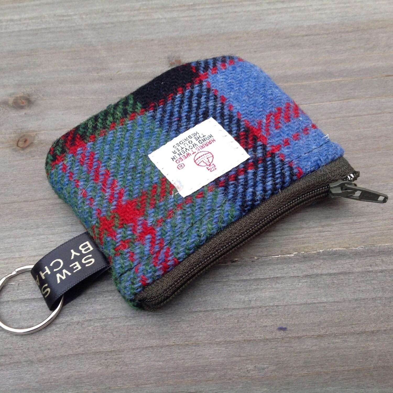 Harris tweed coin purse in MacDonald tweed with key ring loop