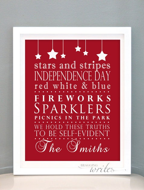 4th of July Wall Art - Independence Day Print Design- Custom Family Wall Art and Patriotic Decor (Red White Blue Theme)