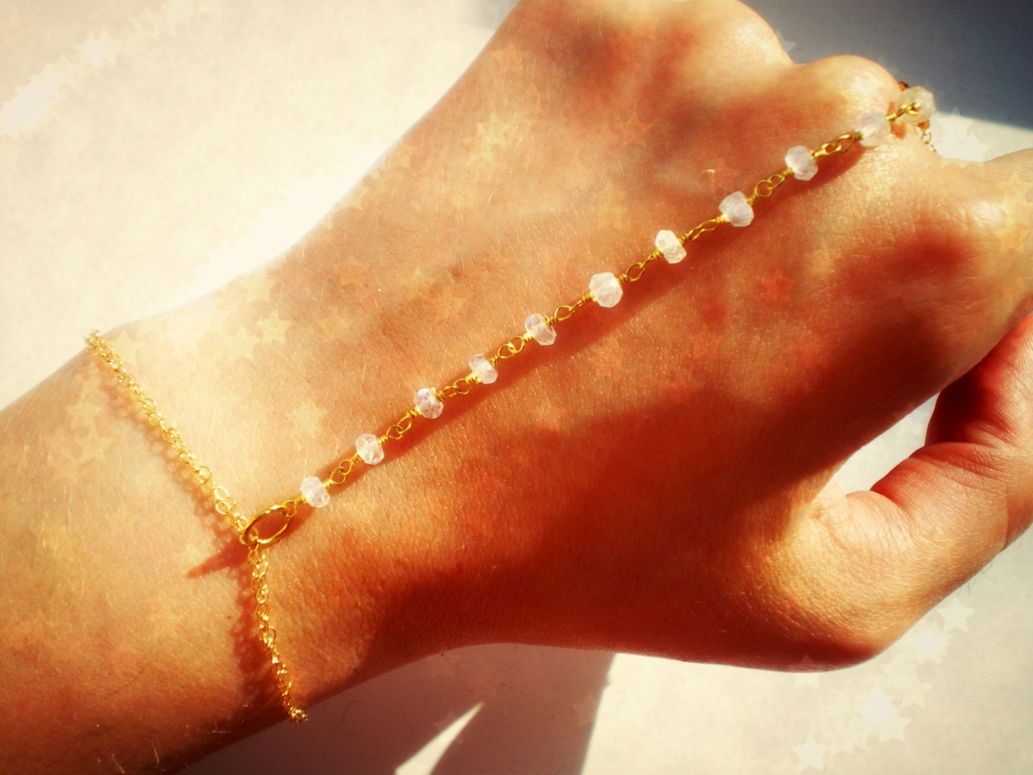 Delicate Gold Hand Chain with Moonstones