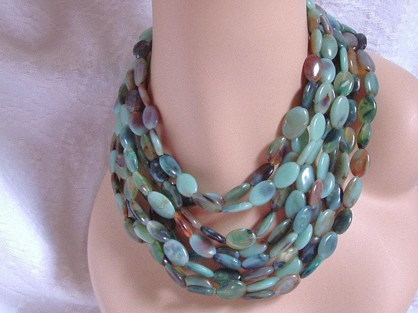 25%  OFF SALE - Vintage 8 Strand Jadeite Art Bead Necklace Choker