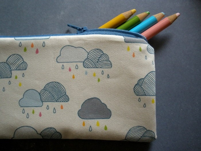 rain cloud pencil case purse