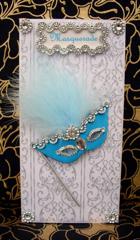 Masquerade Turquoise Mask Personalised Card / Handmade Greeting Card
