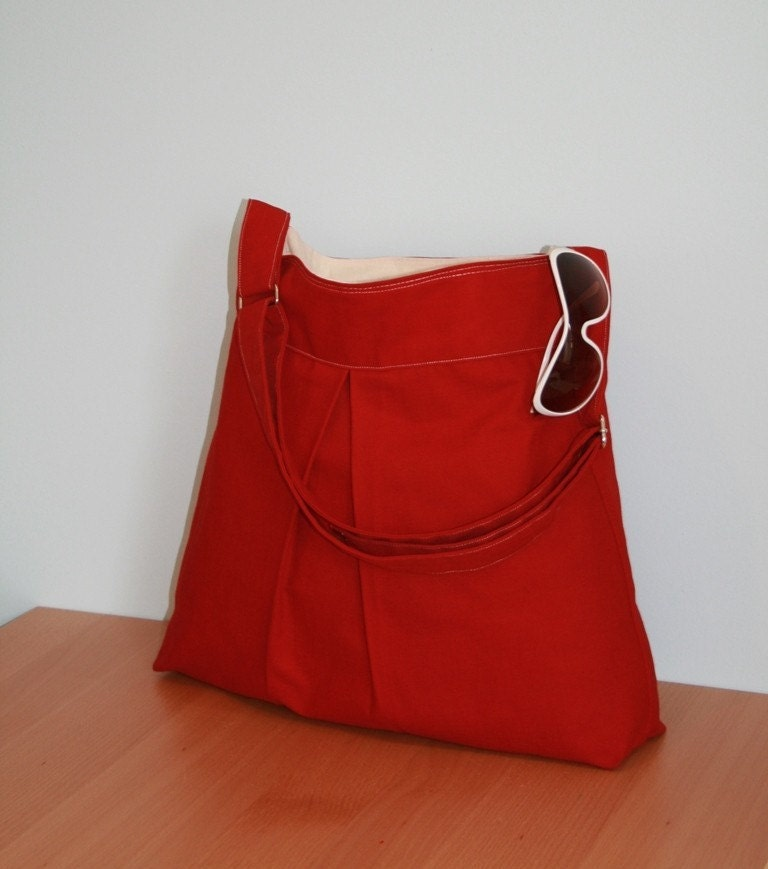 New Book Bag in Deep Red with Build In Laptop Compartment