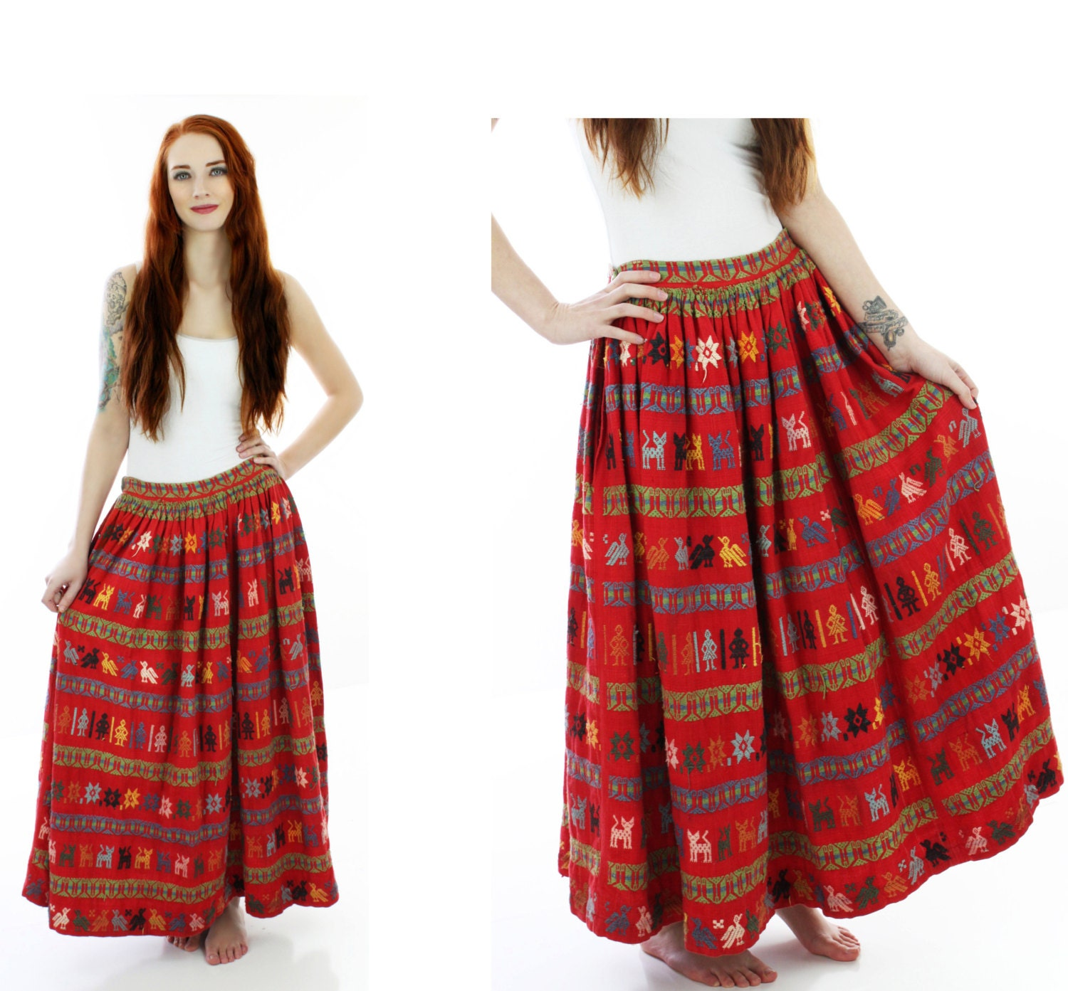 Vintage mexican skirt s red embroidered by