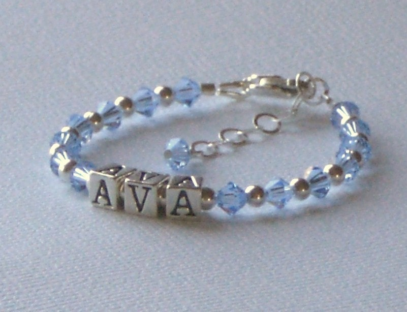BELLA Children's Personalized Name Bracelet made with Sterling Silver and Swarovski Crystal Birthstone Color