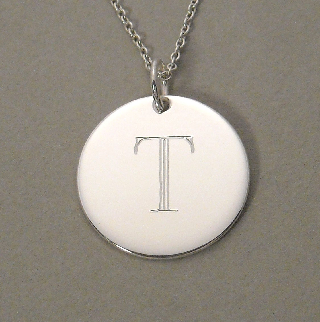 Sterling silver personalized letter t charm by gaudybaubles for Letter t charm
