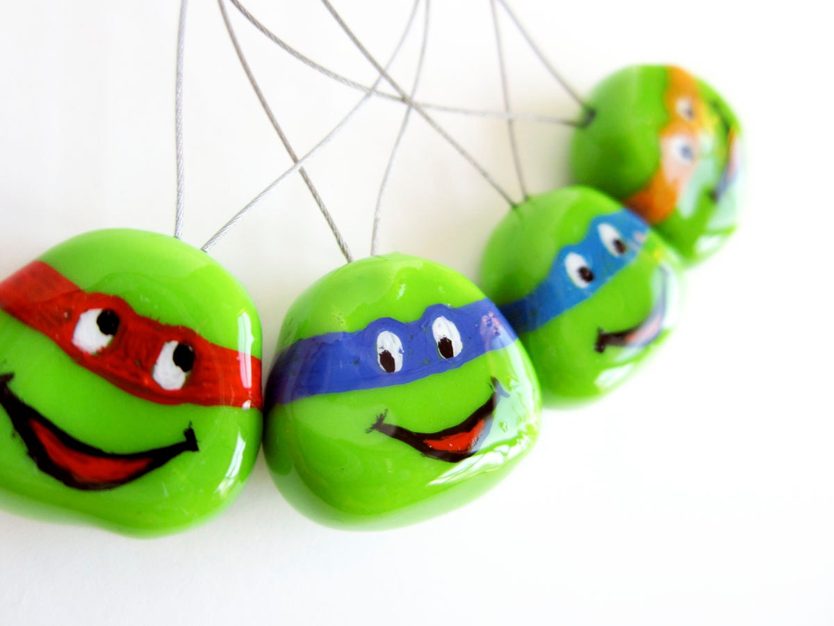 Snag Free Stitch Markers - Set of 4 Hand-Painted (TMNT, Teenage Mutant Ninja Turtles)