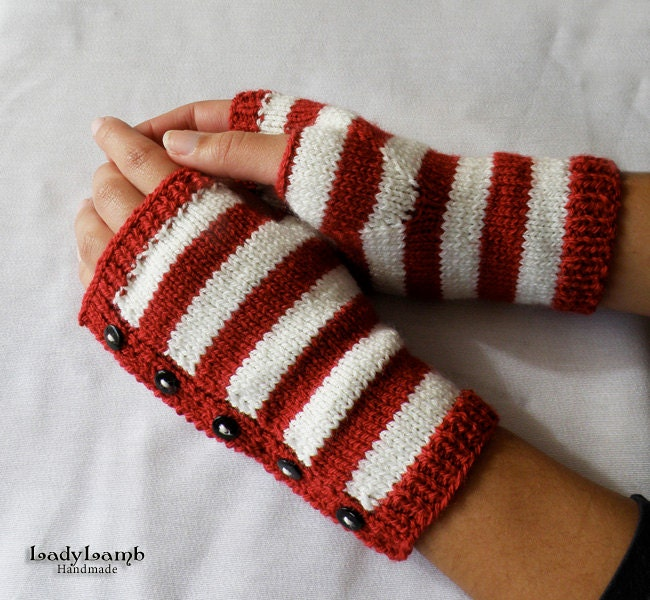 Candy Cane Gloves by LadyLamb