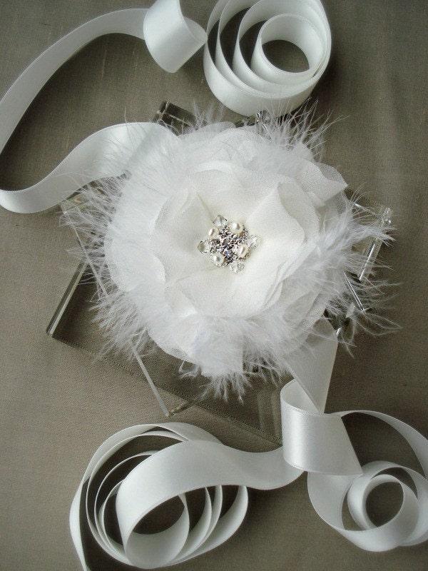 Sample Sale White Silk Chiffon Jeweled Feather Bridal Sash