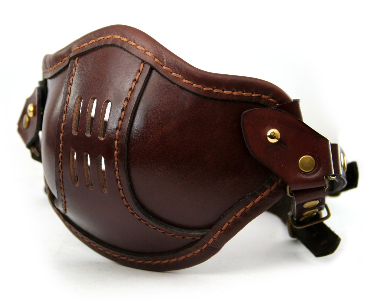 STEAMPUNK LEATHER Mask brown leather SMPL/a Raider design - MannAndCo