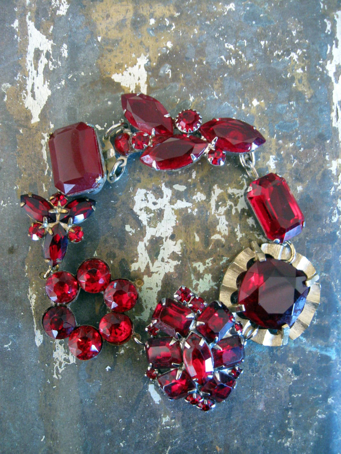 Ruby -  red rhinestone bracelet