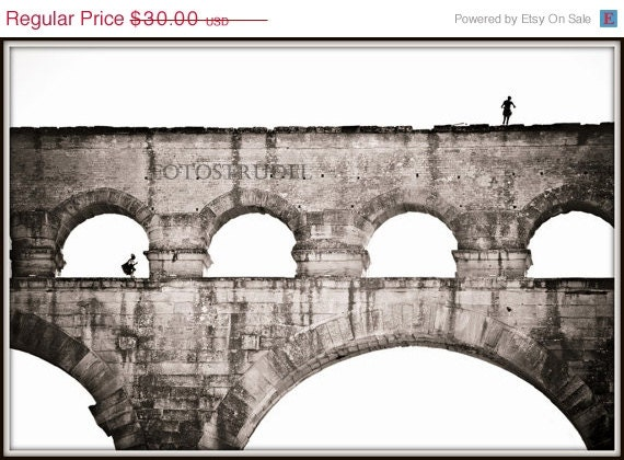SUMMER SALE Southern France Photograph. The Pont du Gard - Roman Aqueduct - Nimes, France. 10x10 or 8x12 - fotostrudel