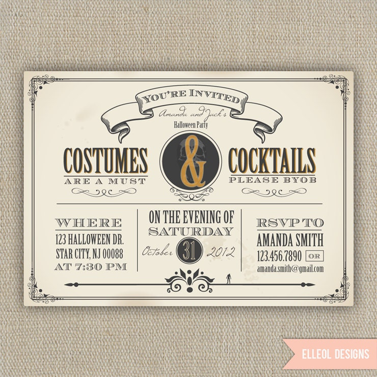 Halloween party invitation printed or DIY