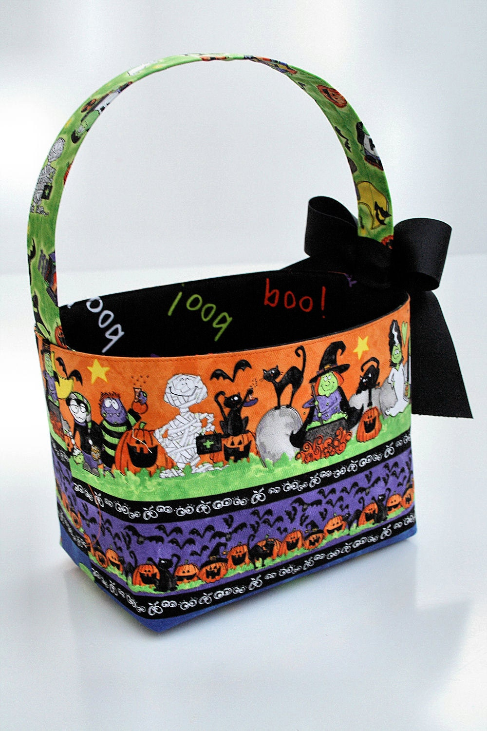 Custom Boutique Halloween Trick or Treat Basket Candy bucket