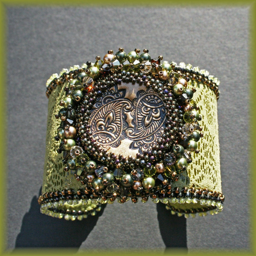 Leather bead embroidered cuff forest green by jirikidesigns