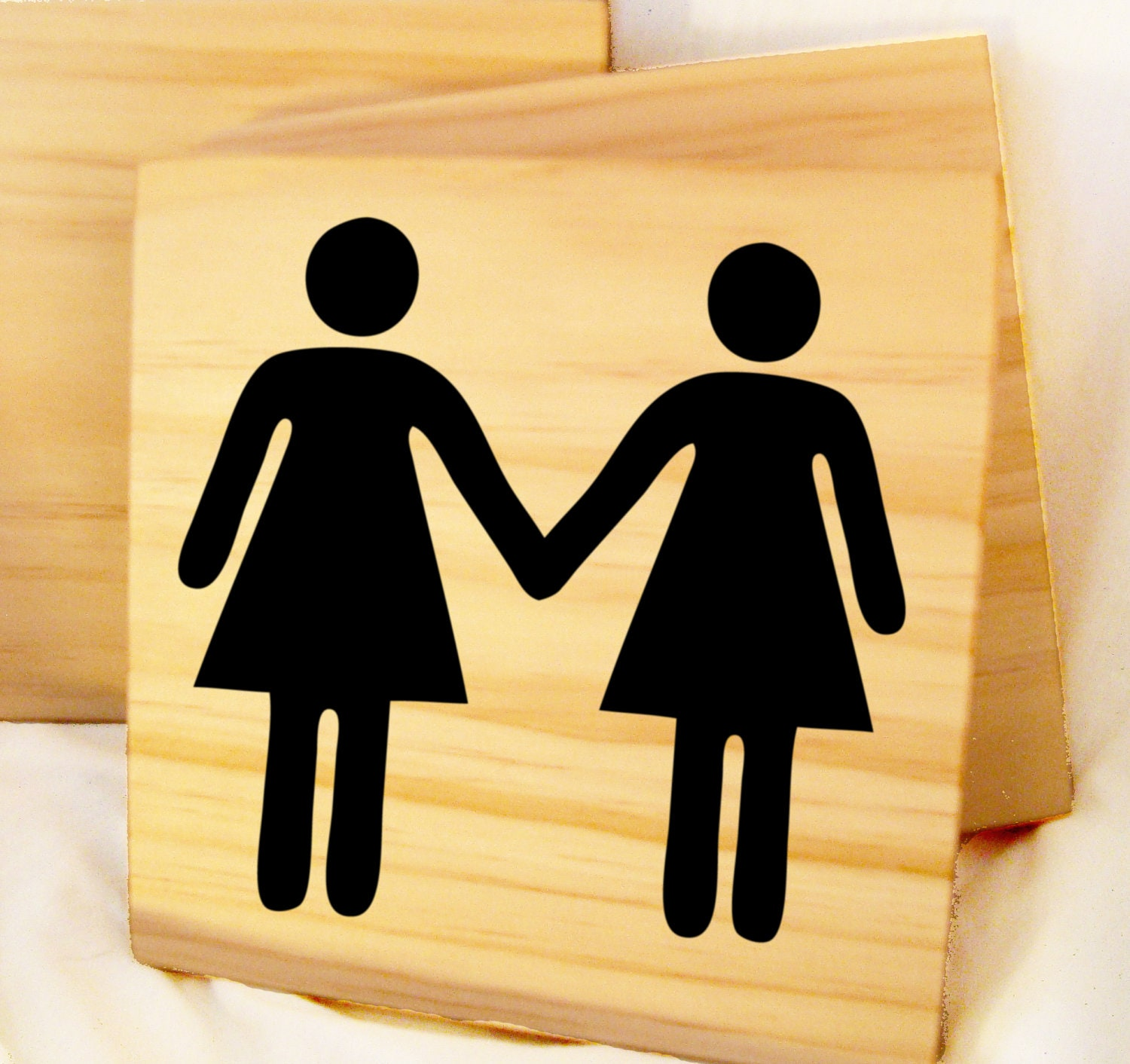 Helvetica woman and woman holding hands- wooden block with custom decal- cute gay couple wedding gift