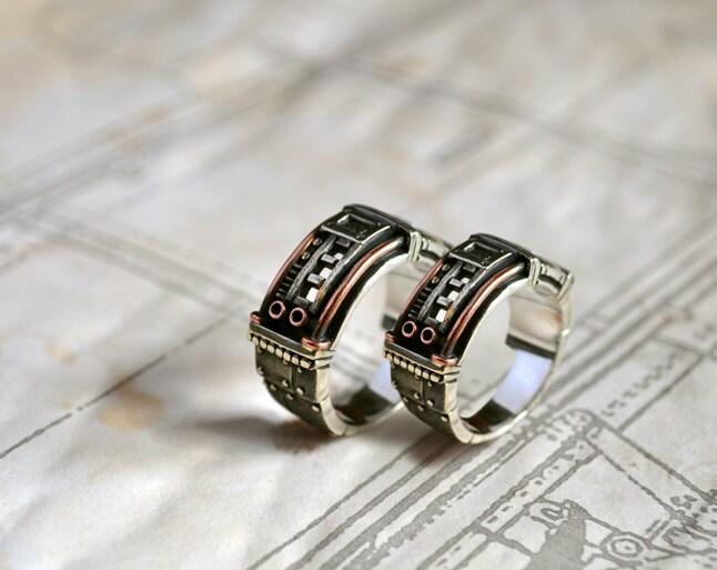 Silver Steampunk Wedding Rings Sustentorum By GatoJewel On