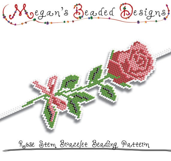 Bracelet Beading Pattern Rose Stem by MegansBeadedDesigns