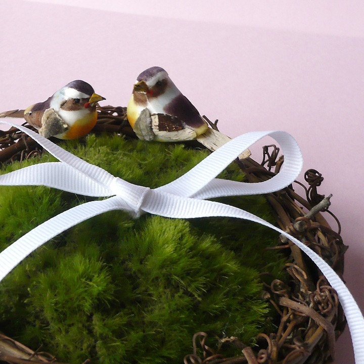 wedding ring bearer pillow moss bird nest cushion