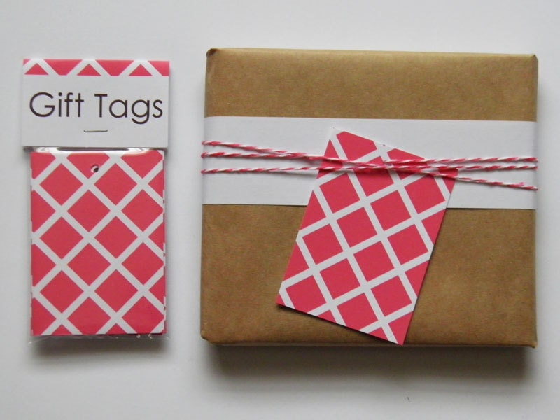 Gift Tag 8 pack - Pink Cubes - PocketCarnival