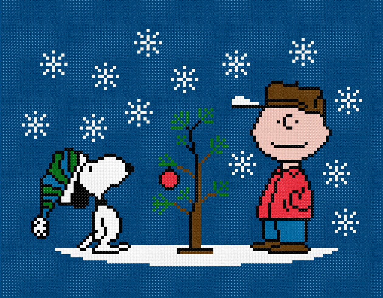 Charlie brown christmas characters cross stitch pdf pattern