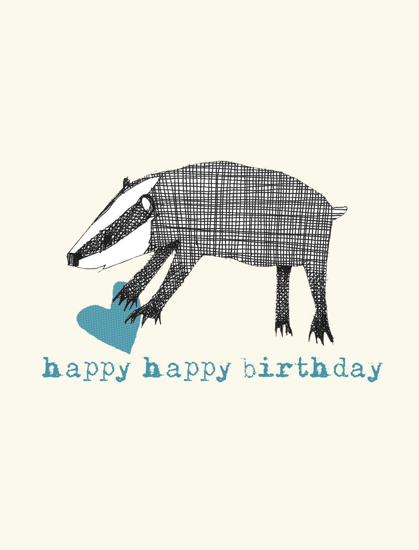 badger birthday card