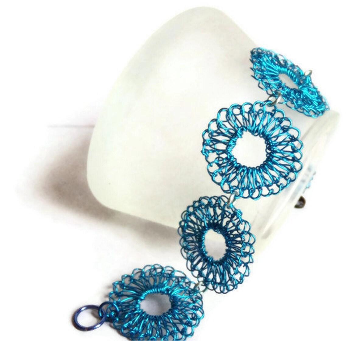 Hand Crochet Wire Ocean Blue Bracelet by PrayerMonkey