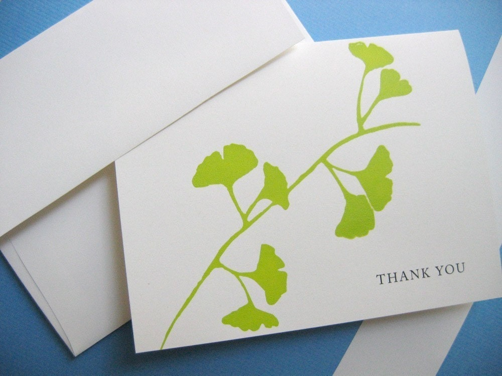 Ginkgo screen printed thank you card on eco friendly papers