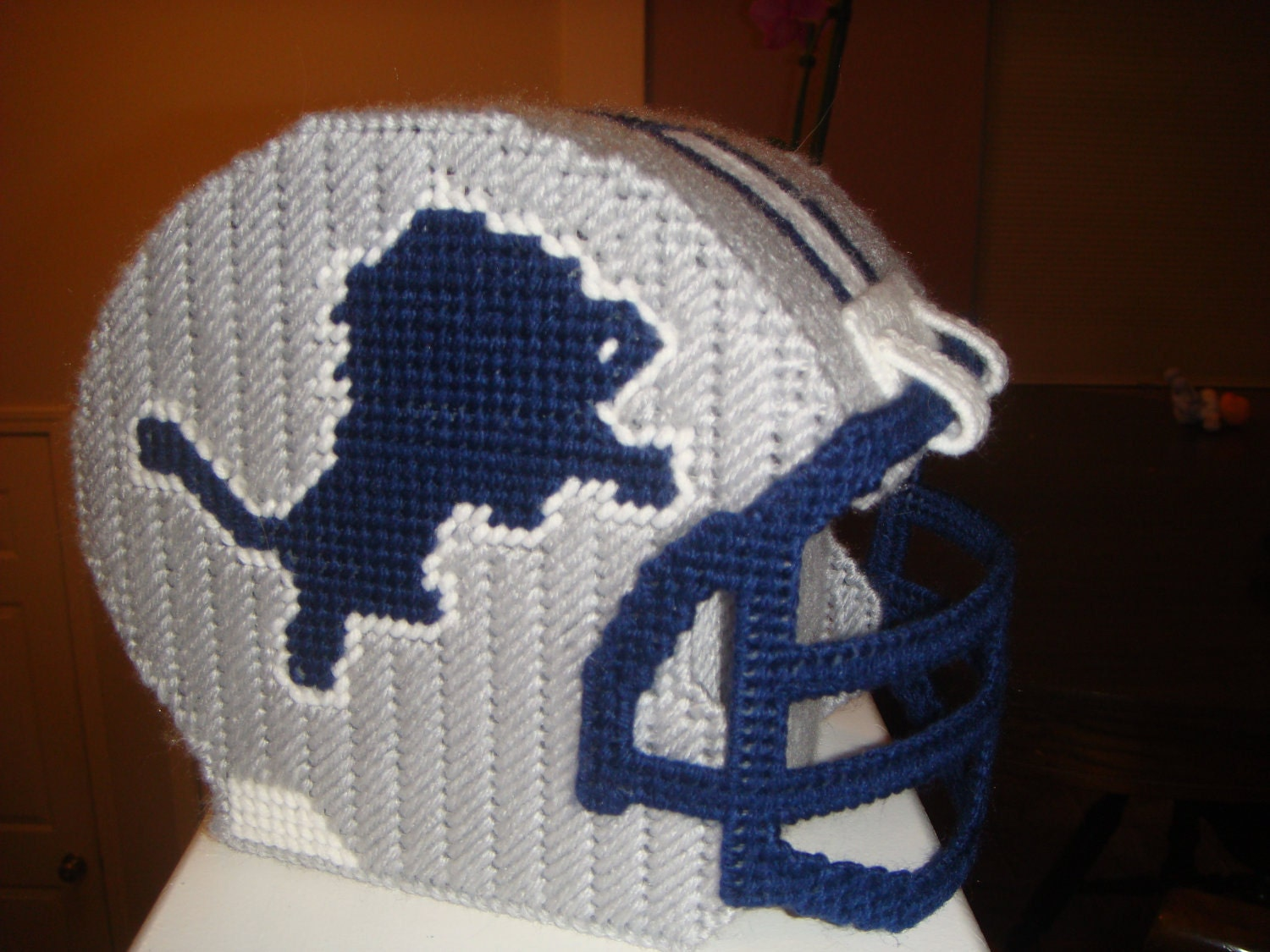 Plastic Canvas Nfl Football Helmet Tissue Box By