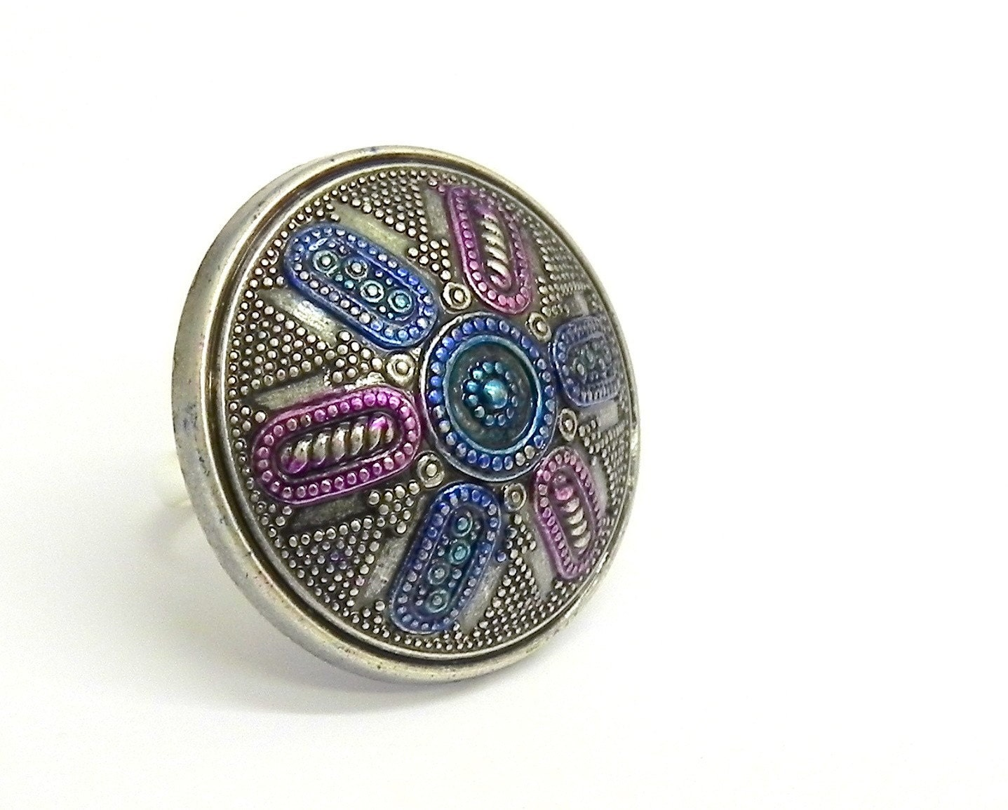 Vintage Metallic Silver, Blue and  Purple  Ring - Adjustable band