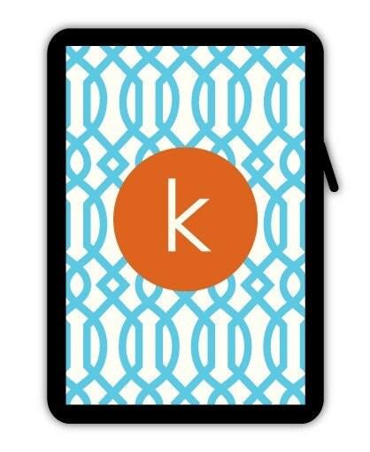 aqua trellis - monogrammed neoprene iPad sleeve - also fits netbooks, eBooks, and other tablets