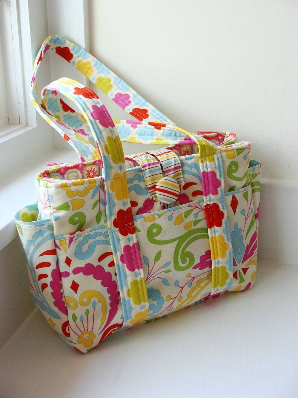 ultimate diaper bag handmade from material by watermelonwishes