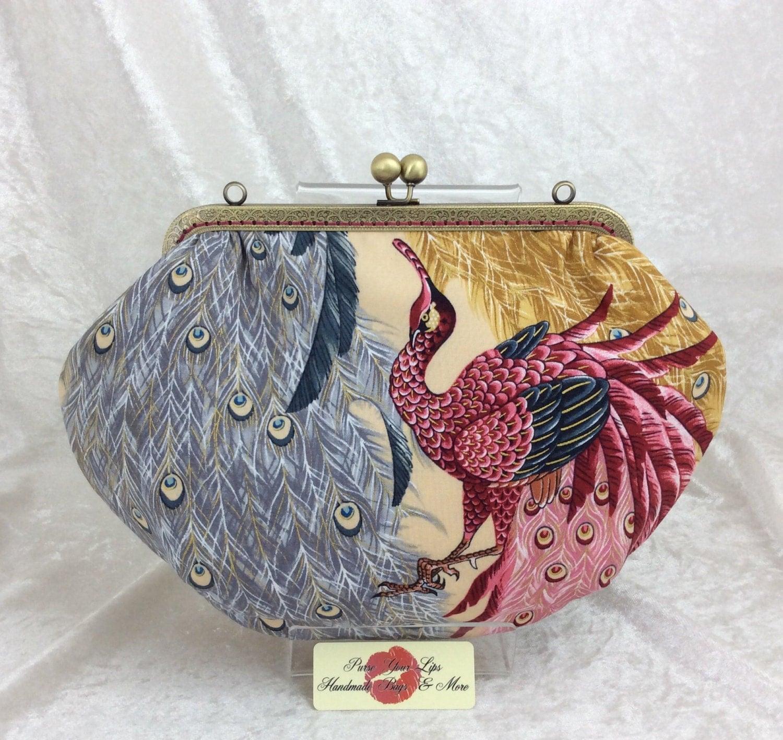 The Grace peacock bag clutch purse handbag Alexander Henry Indochine Kujaku Peacock handmade in England