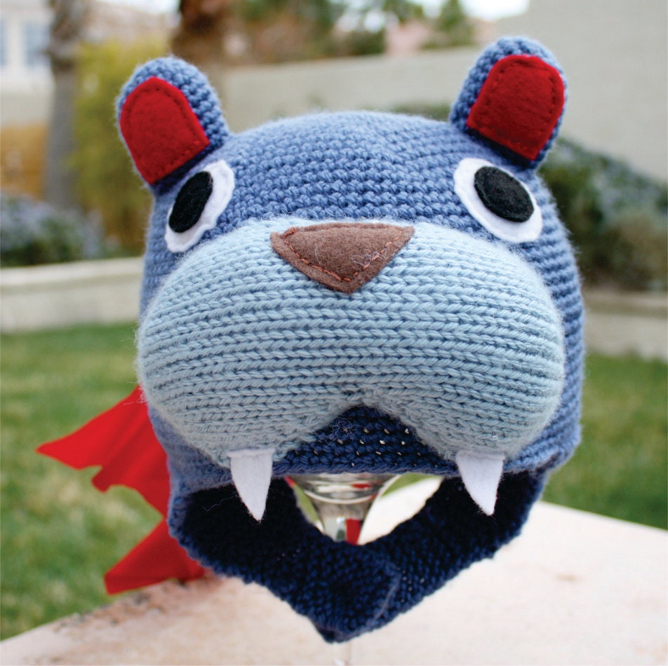 Tekkonkinkreet -ish  Blue Bear Hat - Japanese Seinin Manga Anime Crochet Beanie Hat