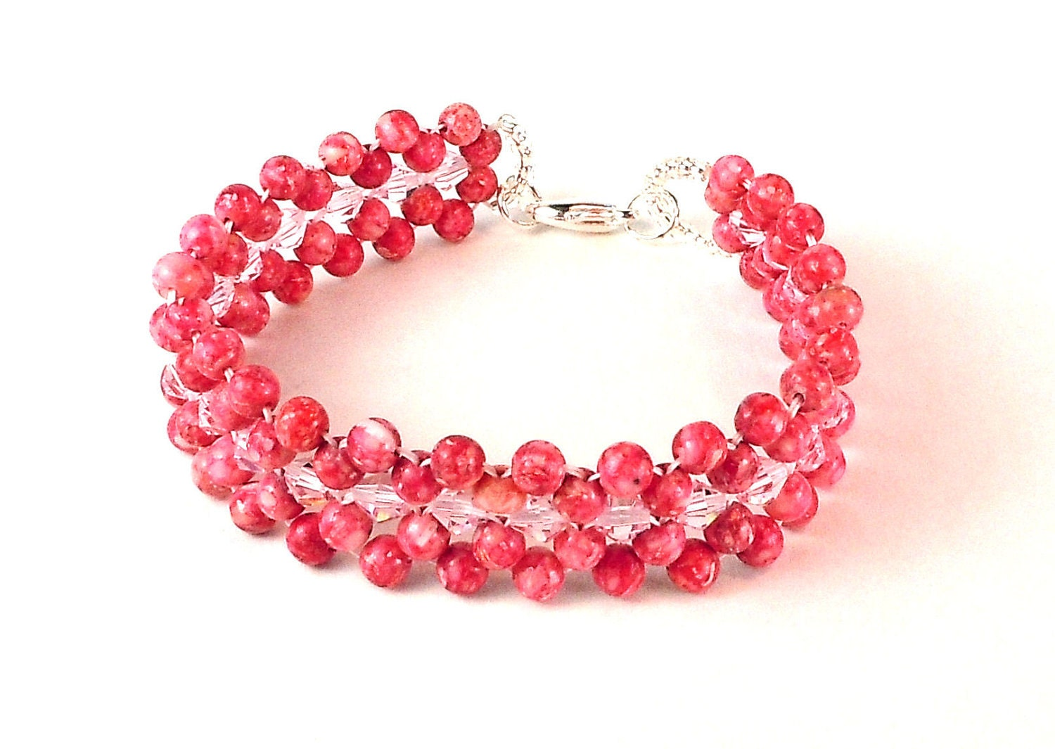 Pink Crystal and Resin Right Angle Weave Bracelet with a Lobster Claw Clasp - BeadingDerby