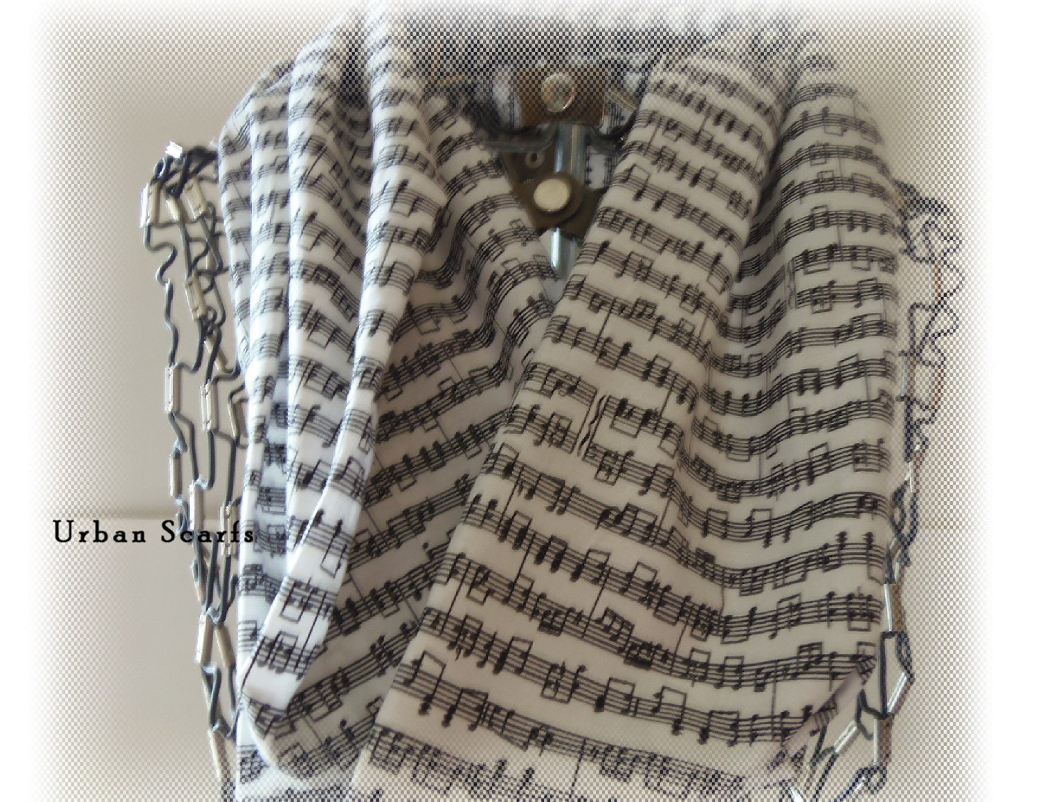 Music Infinity scarf, music note scarf, white and black, circle scarve, cowl - UrbanScarfs