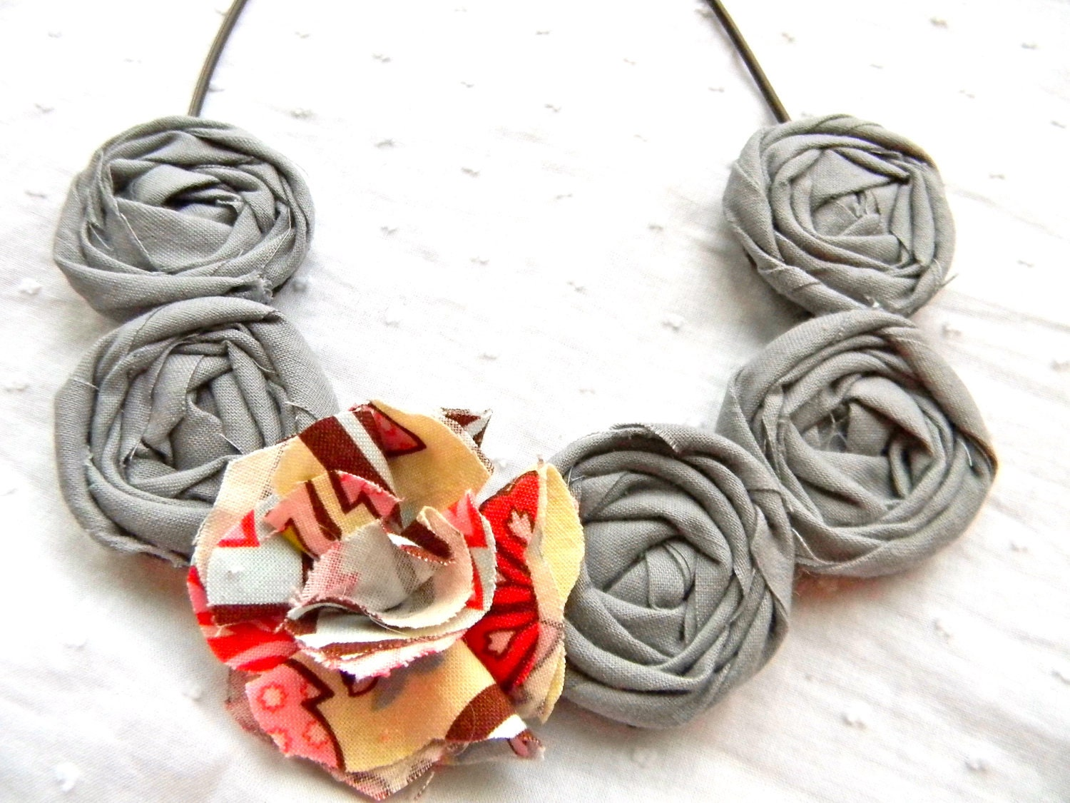 gray fabric rosette necklace