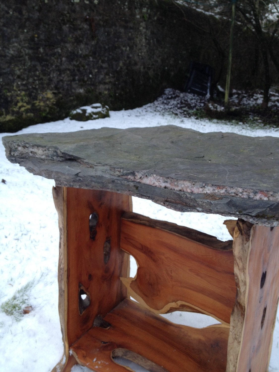 Yew and Schist Laptop Table with planter handmade in Scotland