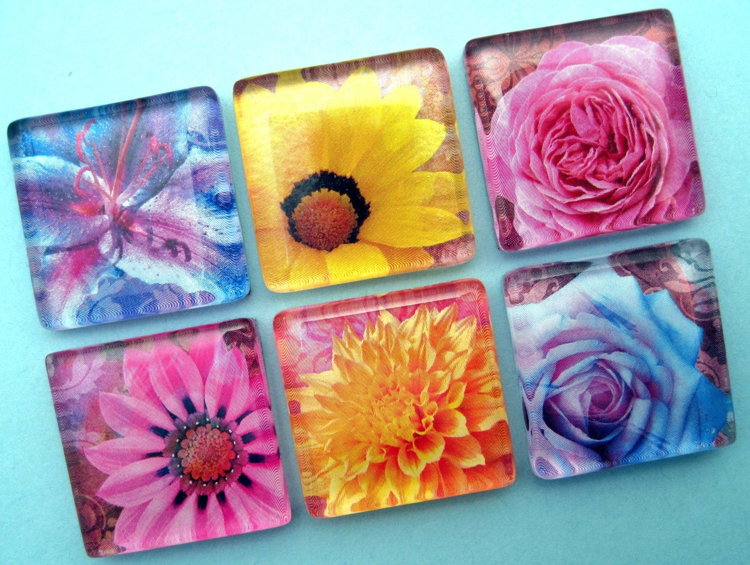 Bright Flora Magnet Set - Inch Square Glass - Vibrant Colors