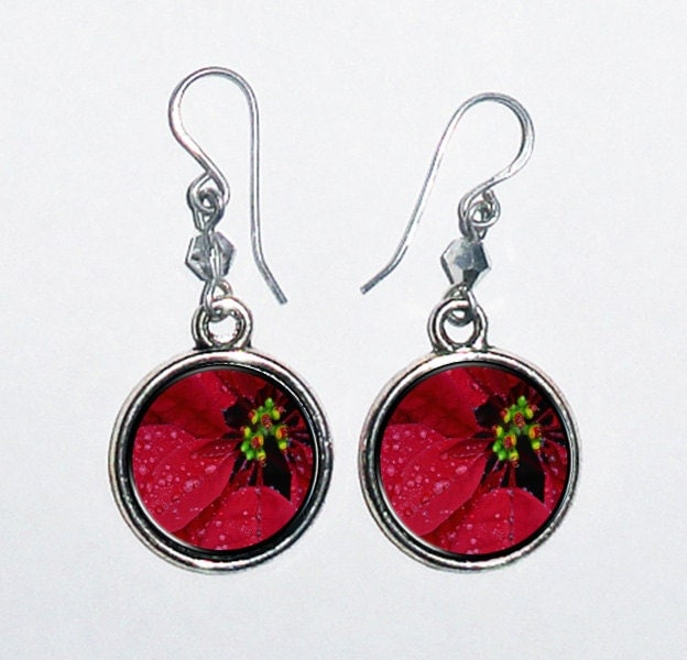 Christmas Flower, Poinsettia Flower Art Earrings, Round Photo & Resin Charms Earrings - Personalized Double Sided - BeatriziFashions