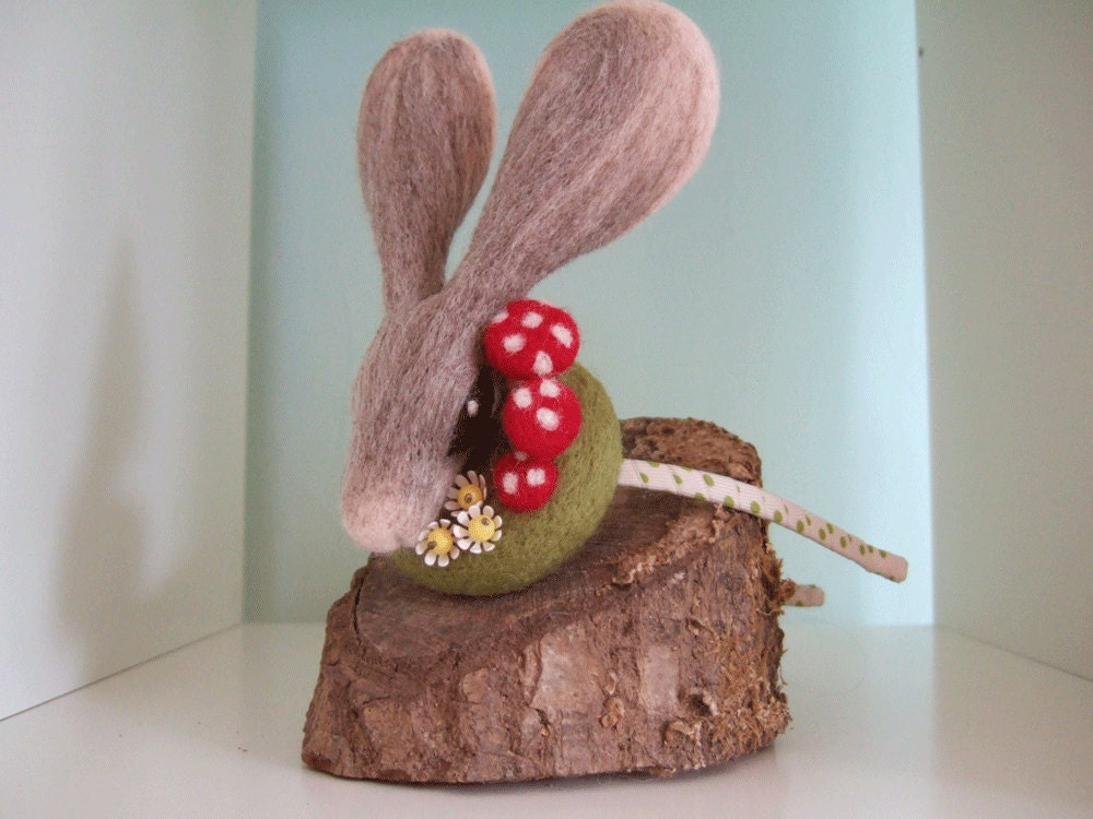 Rabbit Fascinator with Mushrooms and Vintage Flowers