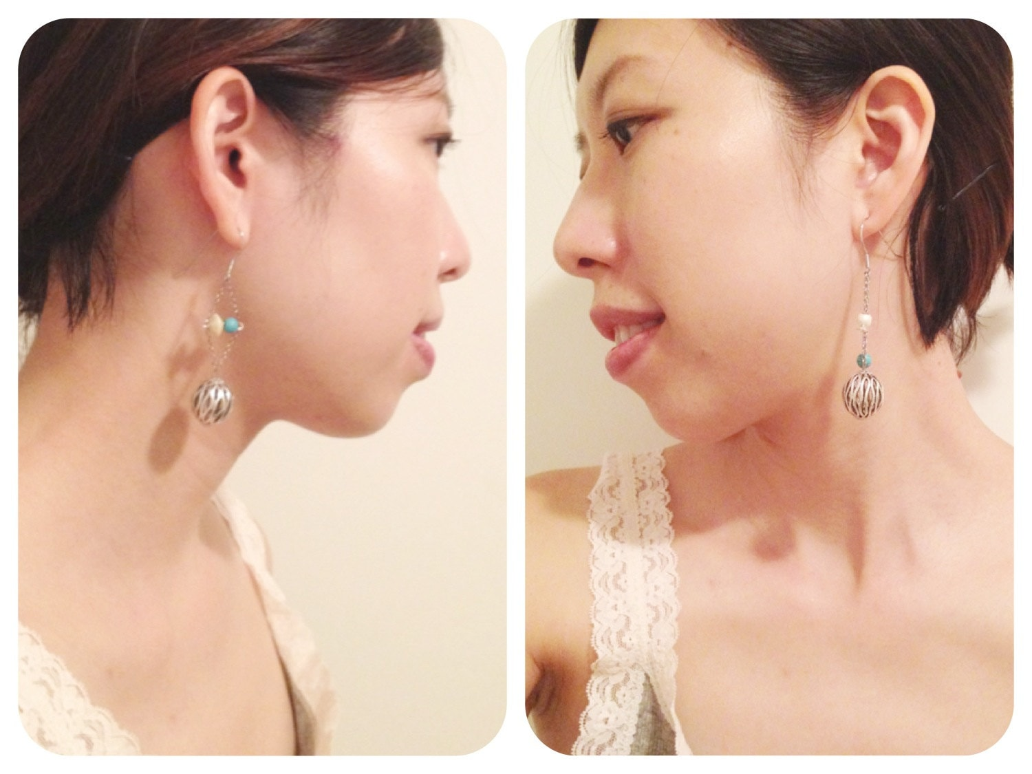 Bohemian Dangle Earrings, with Turquoise Stones and Pearly Beads, Asymmetrical Earrings, 925 silver earrings