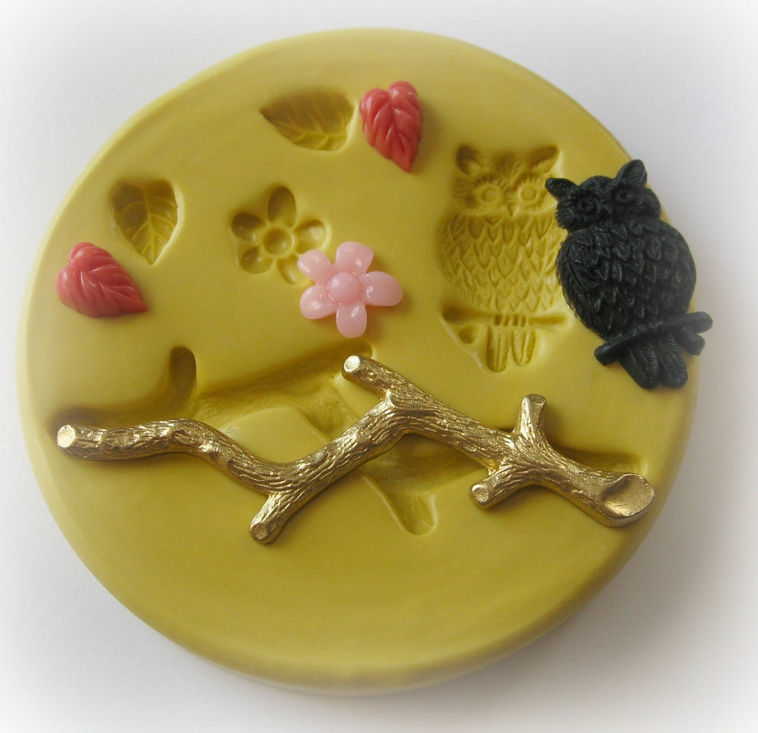 Owl Tree Branch Leaf Flower Mold Twig Clay Resin PMC Fondant Mould