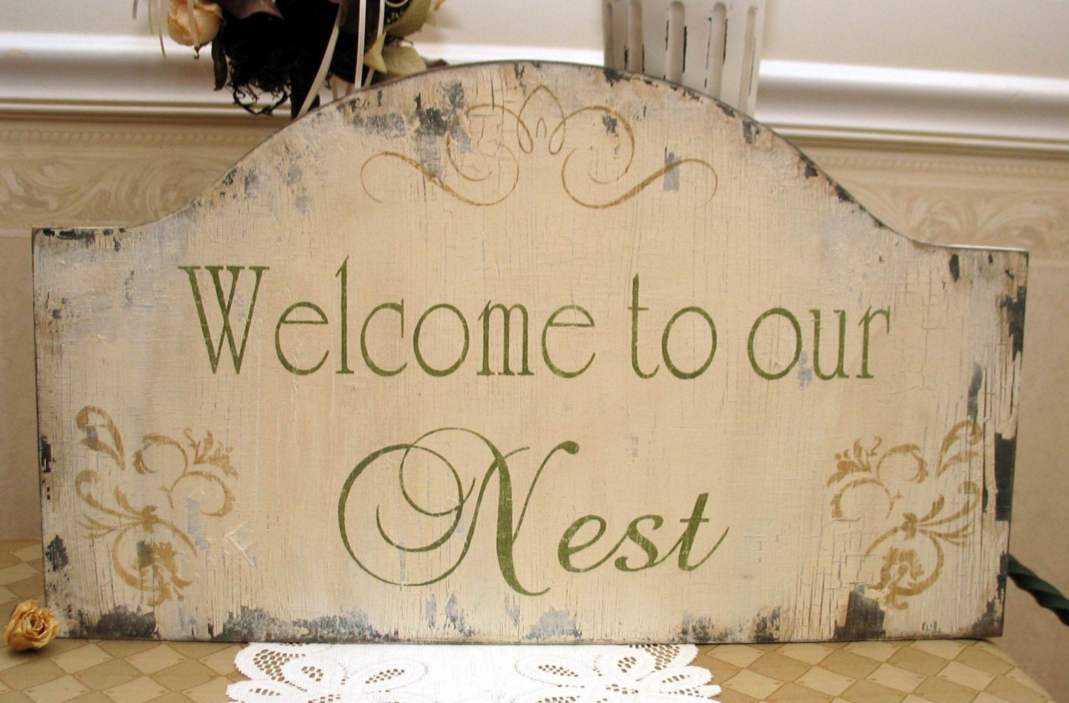 WELCOME to our nest shabby chippy sign
