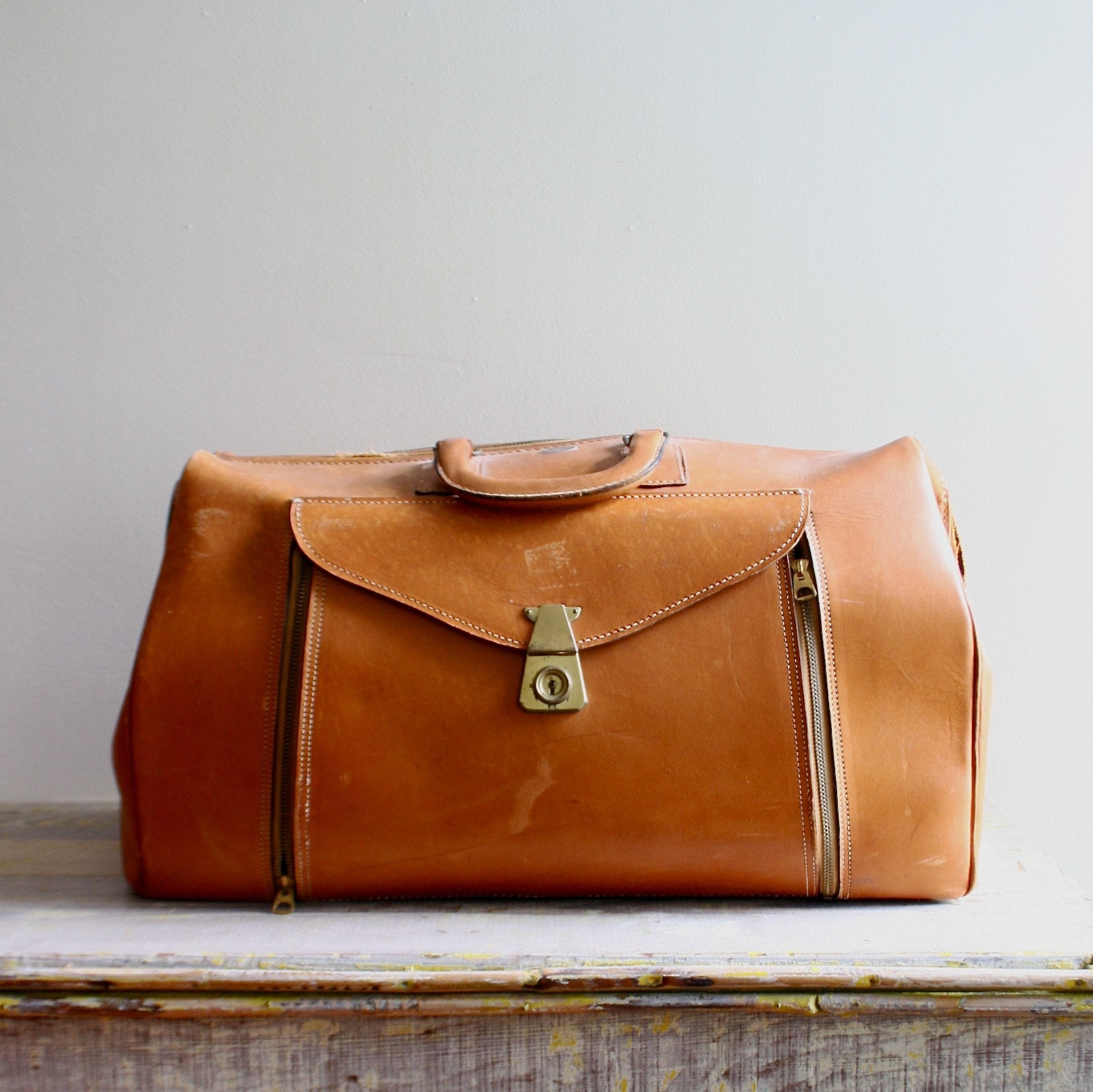 Large Vintage Leather Weekender