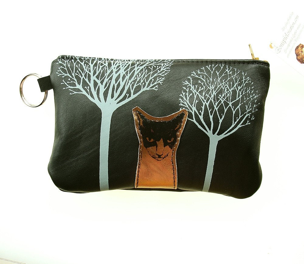 Trees and  Cat Pouch in Black Recycled Leather