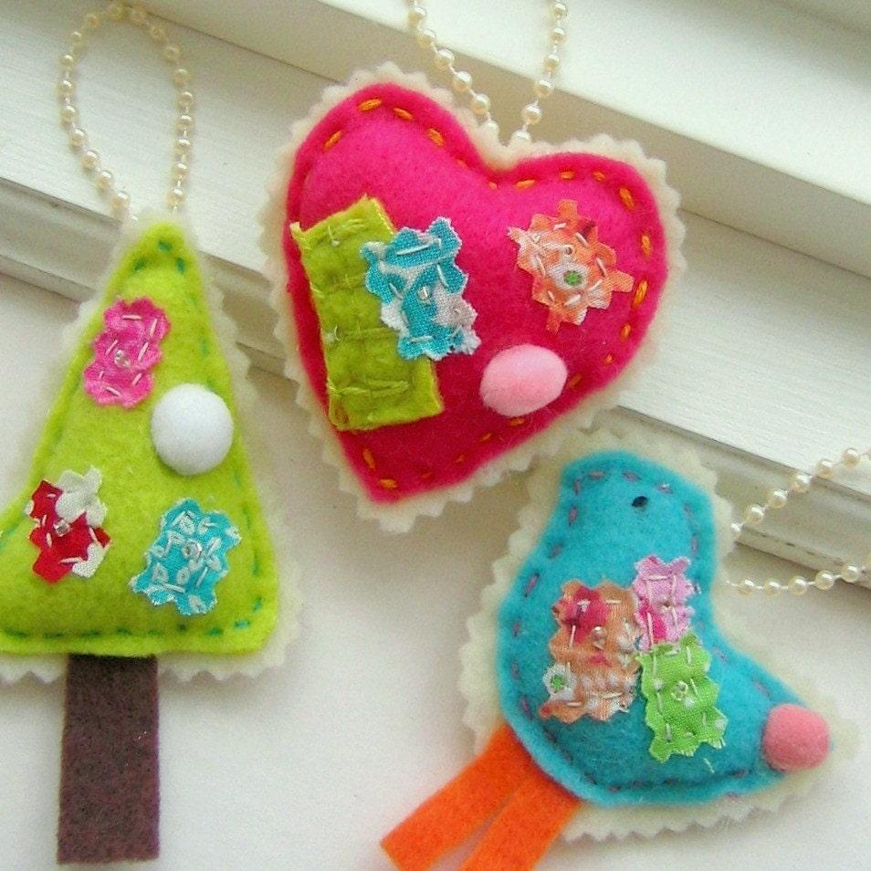 Hand Sewn Felt Ornaments, Decorations - Birdie, Heart, Tree, Set of 3