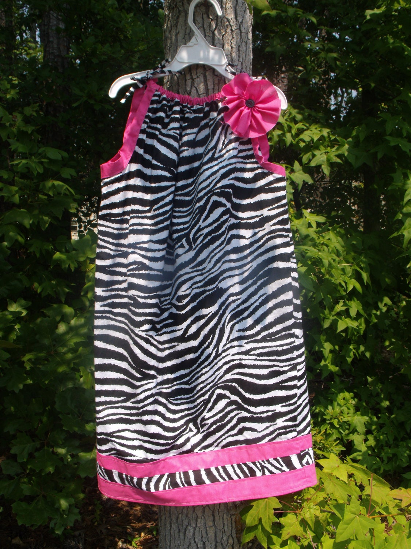 Zebra Print Pillowcase Dress with Pink Flower Embellishment